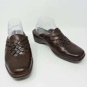 Clarks Brown Chocolate Woven Leather Mules